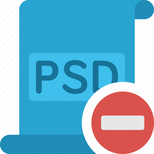 delete, document, extension, file, minus, paper, psd, remove icon