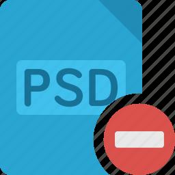 delete, document, extension, file, minus, paper, psd, remove icon