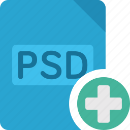 add, document, extension, file, paper, plus, psd icon