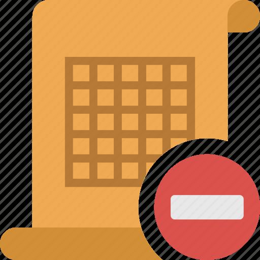 delete, document, file, minus, paper, remove, table icon