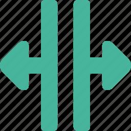 arrow, scale, width icon