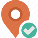 accept, check, location, map, ok, pin icon