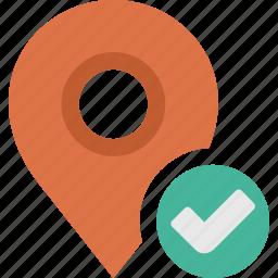 accept, check, location, map, ok, pin icon