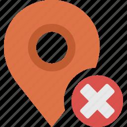 close, delete, location, map, marker, pin, remove icon