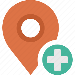 add, location, map, marker, pin, plus icon