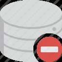 data, storage, remove, delete, minus, database
