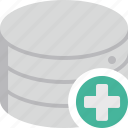add, data, database, new, plus, storage icon
