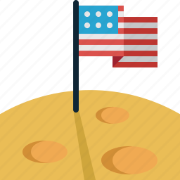american, flag, moon icon