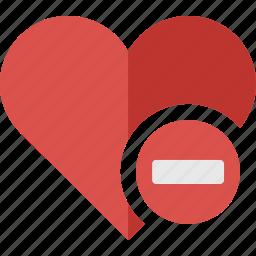 delete, favorite, heart, love, minus, remove icon
