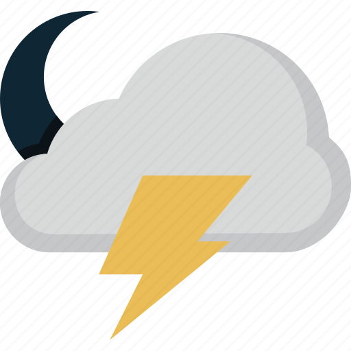 cloud, forecast, lightning, moon, weather icon