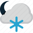 cloud, forecast, moon, snow, weather icon