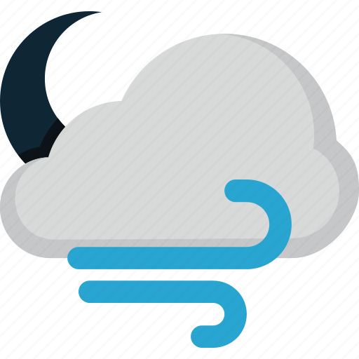 cloud, forecast, moon, weather, wind icon