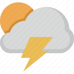 cloud, forecast, lightning, sun, weather icon