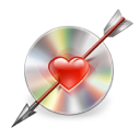 arrow, disc, love icon