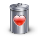 bin, heart, love, recyle icon