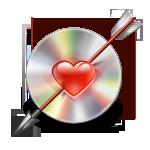 arrow, disc, love icon