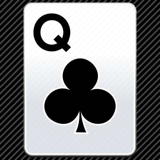 card, casino, clubs, deck, poker, q, queen icon