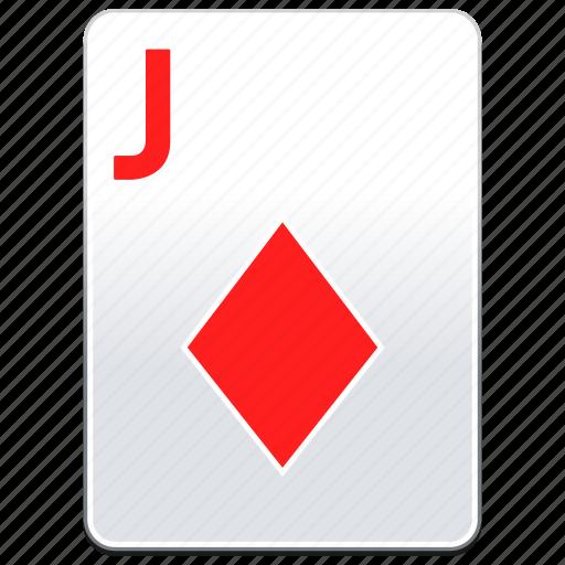 card, casino, deck, diamonds, j, jack, poker, red icon