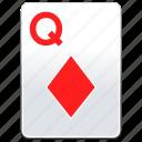 card, casino, deck, diamonds, poker, q, queen, red icon
