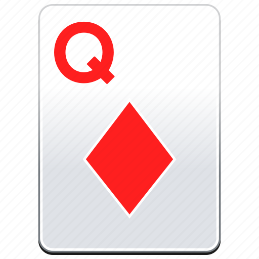 card, casino, deck, diamonds, poker, q, queen, red icon