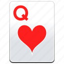 card, casino, hearts, poker, q, queen icon