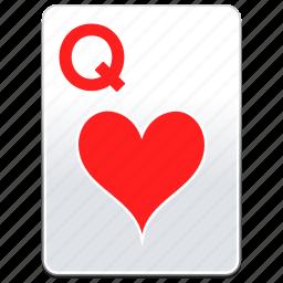 card, casino, hearts, poker, q, queen icon