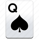 card, casino, poker, q, queen, spades icon