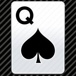 card, casino, poker, q, queen, spades icon