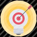 arrow, bulb, creative, focus, idea, light, target icon