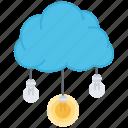 air, brainstorm, bulb, cloud, idea, light, storm