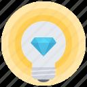 bulb, creative, diamond, good, great, idea, smart