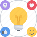 bulb, idea, like, network, smm, social, success