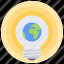 planet, global, mass, earth, creative, bulb, idea icon