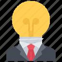 bulb, creative, director, idea, job, man, suit