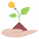 bulb, earth, hand, idea, leaf, sprout, startup