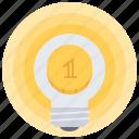 bulb, coin, idea, investment, light, money icon