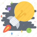 bulb, business, idea, planet, rocket, space, startup