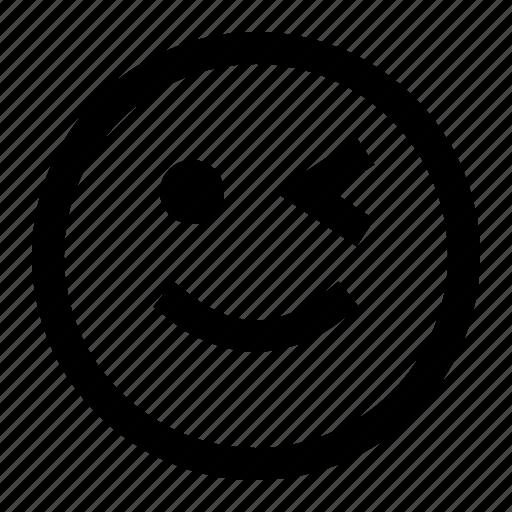 emoji, emoticon, face, smiling, winked icon