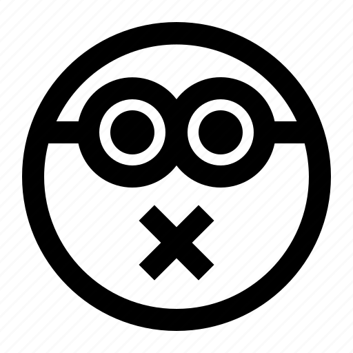 emoji, emoticon, face, minion, shut, up icon