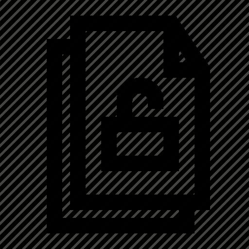 document, file, folder, paper, unlock icon