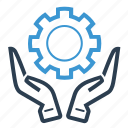 development, gear, hands, planning, project icon