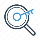 keyword engine, magnifier, searching icon