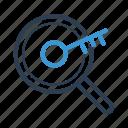 analysing, key, keyword, keyword engine, magnifier, research, searching icon