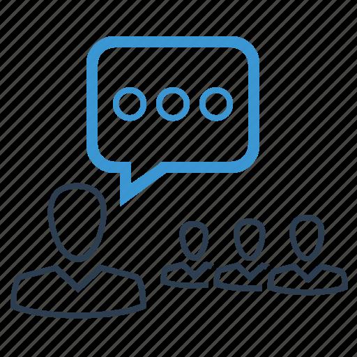 conference, conversation, speech, training icon