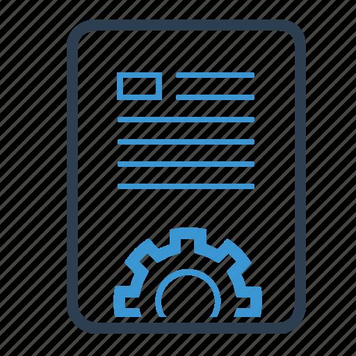 article, blog, content management, copywriting, development, document, gear icon