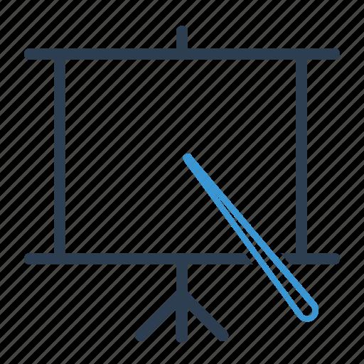 blackboard, education, lecture, presentation, projection, seminar, seo training icon