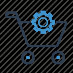 basket, cart, ecommerce, edit, gear, settings, shopping bag icon