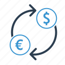 conversion, converter, currency exchange, dollar, euro, trade, trnsformation icon
