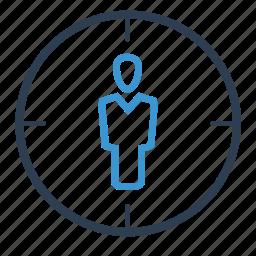 aim, audience targeting, focus, human resources, market target, targeting icon