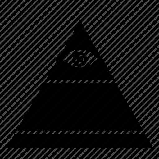 eye, illuminati, pyramid, top, triangle icon